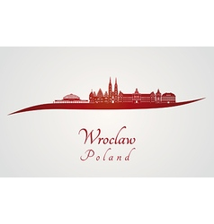 Wroclaw skyline in red vector image vector image