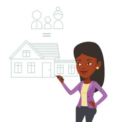 Young woman drawing her family house vector