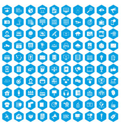 100 information technology icons set blue vector