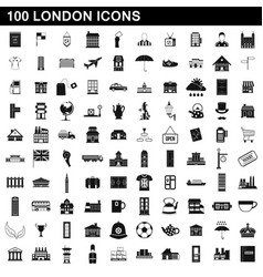 100 london icons set simple style vector image