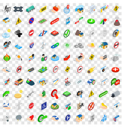 100 signpost icons set isometric 3d style vector