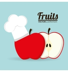 Apple fruit with chefs hat design vector