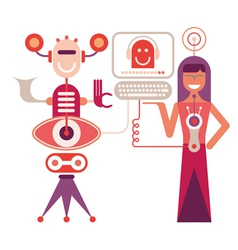 woman and robot vector image