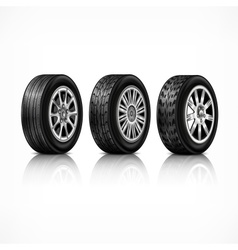 Three rubber wheels on white vector image