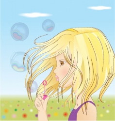 girl blowing up balloons vector image