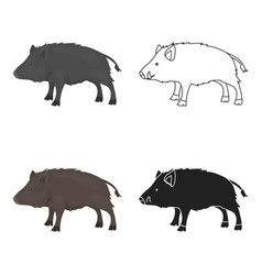 boar icon in cartoon style isolated on white vector image