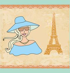 beautiful tourist in paris vector image