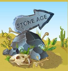 Cartoon stone age pointer template vector