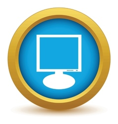 Gold monitor icon vector