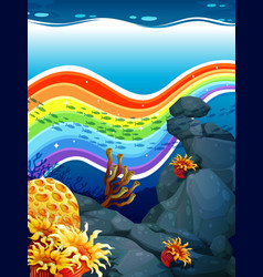 Rainbow underwater vector
