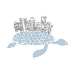 Metropolis on shell water turtles city skyscrapers vector