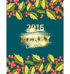 Christmas mistletoe holiday card with text vector