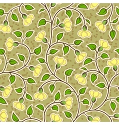 Abstract grunge yellow flowers seamless background vector