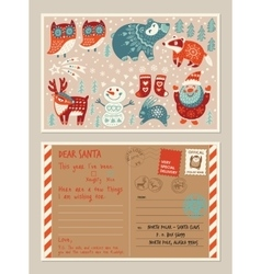 Christmas holiday post card and envelope with cute vector image