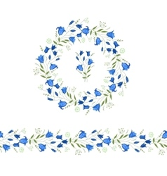 Floral round garland and endless pattern brush vector