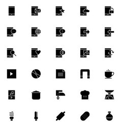 Universal mobile line icons 14 vector
