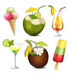 Summer drinks and ice cream vector