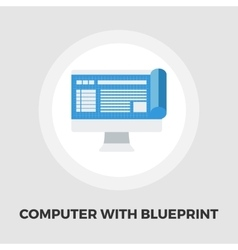 Monitor whit blueprint flat icon vector