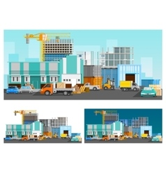 Warehouse and logistics compositions set vector