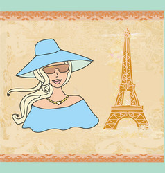 Beautiful tourist in paris vector