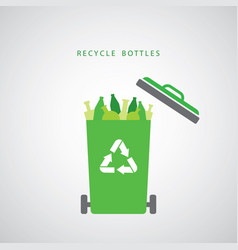 bottles in a green recycling bin vector image