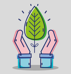 Business man hands with tropical leaf vector