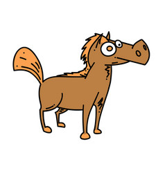 Cartoon horse cartoon hand drawn image vector