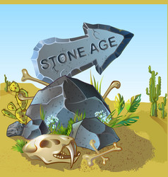 Cartoon stone age pointer template vector