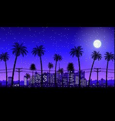City skyline silhouette at night vector