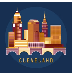 Cleveland Ohio Usa flat design of skyline vector image