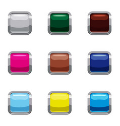Click internet button icons set cartoon style vector
