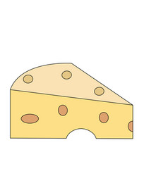 Color image cartoon piece of cheese vector
