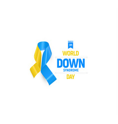 Down syndrome ribbon blue and yellow medical vector