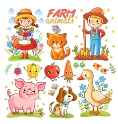 Farm cartoon set with animals vector