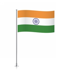 Flag of india waving on a metallic pole vector