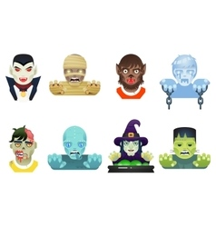 Halloween Party Monster Role Character Bust Icons vector image vector image