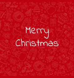 hand drawn christmas red background vector image vector image