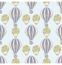 Hand-drawn seamless air balloon pattern vector image