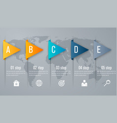 Infographic five step with 3d triangle arrow vector