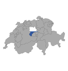 Map of Switzerland with flag of Luzern vector image vector image