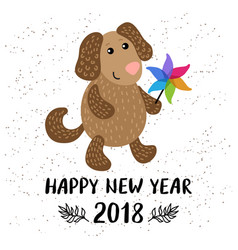 new year 2018 greeting card with dog vector image vector image