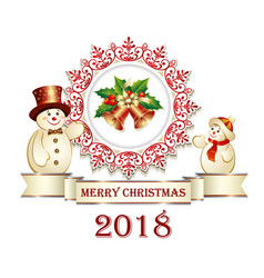 postcard happy new year with snowmen on a white vector image vector image