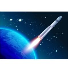 Rocket in space cosmonautics day spacecraft vector