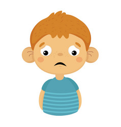 Sad and disappointed cute small boy with big ears vector