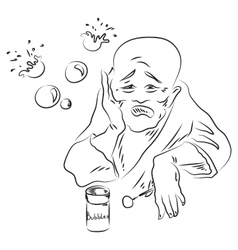 Sad chinese man vector
