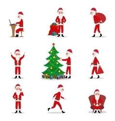 set cartoon Santa Claus ready for Christmas vector image