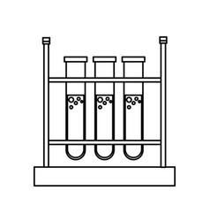 Test tube rack laboratory chemistry equipment line vector
