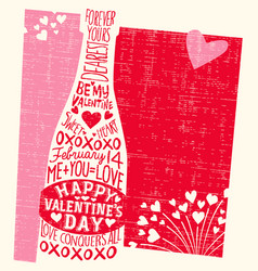 Valentines day hand drawn champagne hearts vector