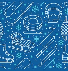 Winter sports dark blue seamless pattern vector