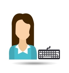 Girl with keyboard icon vector